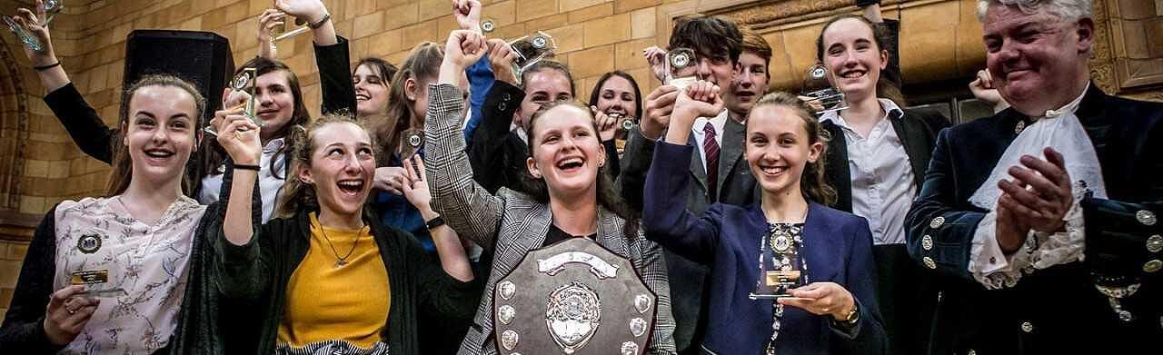 Ranelagh School Celebrating their win in 2018